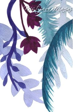 Cascading Botanicals Watercolor Painting by LoveJoyPeaceDesigns