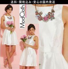 ★セレブ人気★モドクロス modcloth シンプル 結婚式 ワンピース ドレス アイボリー 白 ホワイト