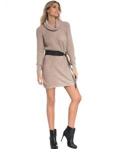 Vestido Tricot Suéter - Taupe - Amaro