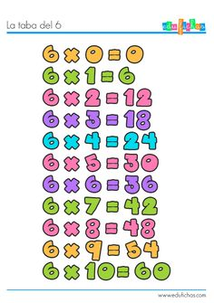 Tabla de multiplicar del 6. Ficha educativa + ejercicio