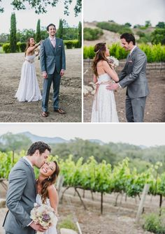 Super sweet, colorful DIY wedding first look at the Fess Parker winery!