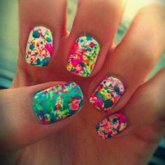 artistic #neon #splatter #nails! :) so colorful!