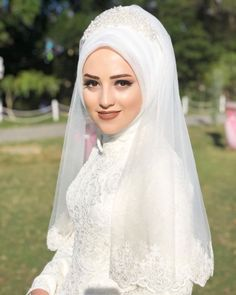 hijab bride headband sheet models There are different rumors about the real history of the marriage dress; Hijabi Wedding, Wedding Hijab Styles, Wedding Kimono, Muslim Wedding Dresses, Muslim Brides, Evening Dresses For Weddings, White Wedding Dresses, Bridal Dresses, Makeup Hijab