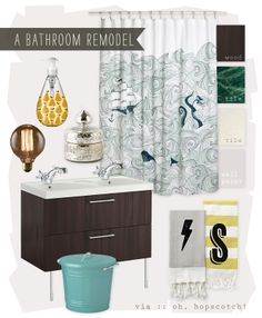 a bathroom remodel mood board via :: Oh, Hopscotch!