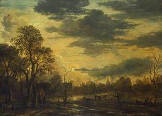 Maannacht in een dorp, Aert van der Neer, circa 1660 | Museum Boijmans Van Beuningen