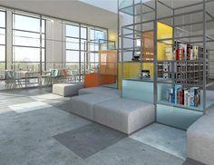 Biblioteka szkolna   School library - Marta Czeczko - architektura wnętrz   interior design Divider, Room, Interiors, Furniture, Home Decor, Bedroom, Decoration Home, Room Decor, Rooms