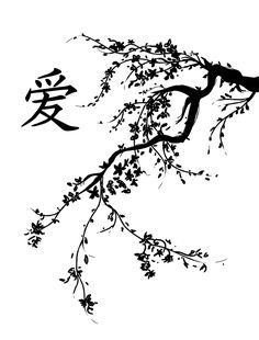 Japanese Cherry Blossom Tree | Black and White Cherry Blossoms Drawing