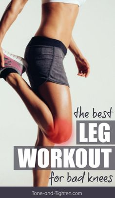 The best lower body workout for knee pain. Great leg exercises even with bad knees on Tone-and-Tighten.com Leg Workouts For Men, Best Leg Workout, Leg Workout At Home, Fun Workouts, Body Workouts, Exercise For Bad Knees, Fitness Exercises, Knee Strengthening Exercises, Thigh Exercises
