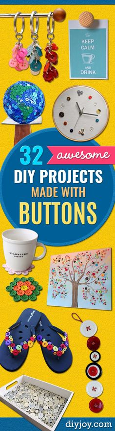 DIY Projects and Crafts Made With Buttons - Easy and Quick Projects You Can Make With Buttons - Cool and Creative Crafts, Sewing Ideas and Homemade Gifts for Women, Teens, Kids and Friends - Home Decor, Fashion and Cheap, Inexpensive Fun Things to Make on A Budget http://diyjoy.com/diy-projects-buttons