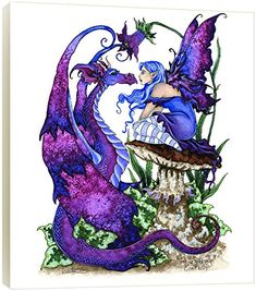 Tree-Free Greetings Wall Plaque, 11.25 x 11.25 Inches, Staring Contest Fairy and Dragon by Amy Brown (83585)