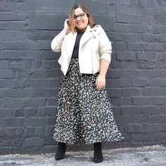 Cassie wears a moto jacket and maxi skirt   40plusstyle.com