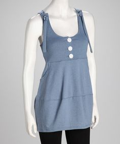 Take a look at this Blue Pocketed Sleeveless Tunic by Basement Apparel on #zulily today!