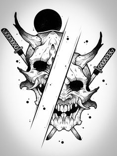 Japanese Tattoo Art, Japanese Tattoo Designs, Japanese Sleeve Tattoos, Creepy Tattoos, Skull Tattoos, Ink Illustrations, Tattoo Illustration, Anonymous Tattoo, Organic Tattoo