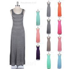 Striped All Over Sleeveless Tank Maxi Dress with Deep Back Full Length Long Span