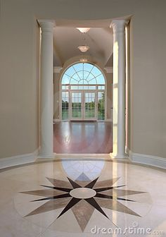 Photo about Beautiful stone medallion floor in an entrance foyer. Image of foyer, inside, structure - 8249340 Foyer Design, Home Room Design, Ceiling Design, Tile Design, Home Interior Design, House Design, Granite Flooring, Stone Flooring, Italian Marble Flooring