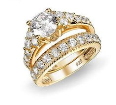 LUXURY GOLD PLATED VINTAGE CUBIC ZIRCONIA RING