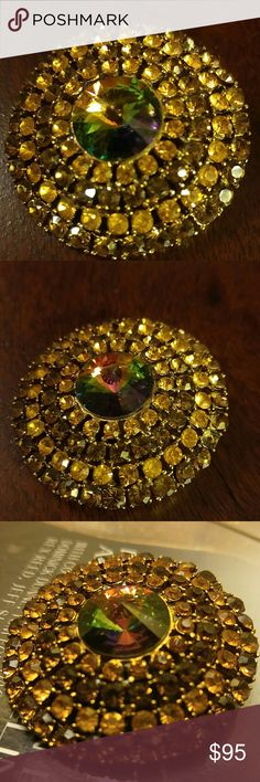 Vintage Yellow Weiss Brooch w Watermelon Stone 1950s Vintage Weis Brooch. This is an absolutely stunning brooch🌟🌟 Yellow Rhinestones with a Gorgeous Watermelon Center Stone. Stunning Condition! Signed Weiss Vintage Jewelry Brooches