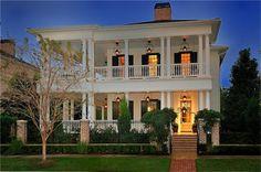 gorgeous white double front porch house