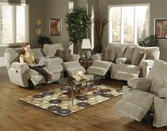 This Madison Sofa Set by Catnapper includes a sofa and love seat. The reclining sofa features functional drop down table with two cupholders. The reclining console love seat offers storage area underneath the arm rest and two cupholders. Sofa And Loveseat Set, Sofa Couch, Couches, Sleeper Sofa, Contemporary Sofa, Modern Sofa, Living Room Sofa, Living Room Furniture, Sofa Bed Design