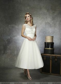 2014 Lace Ankle Length Vintage Wedding Dress 50s Style Wedding Dress, Wedding Dresses 2014, Tea Length Wedding Dress, Tea Length Dresses, Bridal Dresses, Wedding Gowns, Bridesmaid Dresses, Tulle Wedding, Ivory Wedding