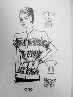 1940s Lovely Peplum Overblouse Pattern Includes Embroidery Transfer Beautiful Day or Evening Blouse Bust 32 Vintage Sewing Pattern FACTORY FOLDED