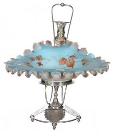 BLUE AND WHITE SATIN ART GLASS HAND GRIP BOWL WITH ENAMEL LEAF DECOR - SET ON ORNATE WILCOX SILVERPLATE STAND WITH ATTACHED BUD VASE