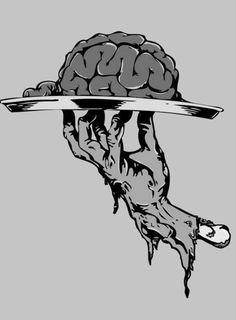 brains zombie hand