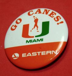 University of Miami Hurricanes Canes UM Football Eastern Airlines Vtg Pin  EAL U Of M Football f7f1e01ac