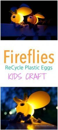 Fireflies using old plastic Easter Eggs! - Emma Owl #summercrafts #kidscrafts #easykidscrafts #easysummercrafts #easy summer Crafts Cute Kids Crafts, Craft Projects For Kids, Toddler Crafts, Diy For Kids, Craft Ideas, Art Projects, Diy Ideas, Simple Crafts, 4 Kids
