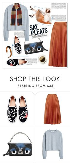 """say pleats"" by limass ❤ liked on Polyvore featuring Kate Spade, Topshop, Fendi, MANGO and Hermès"