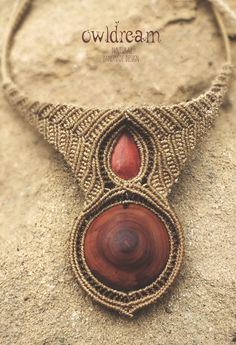 macrame necklace, plum wood, jasper stone  https://www.etsy.com/listing/470367710/tribal-macrame-necklace-with-wood-and?ref=shop_home_active_4