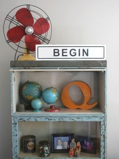 begin, vintage inspired hand painted street sign.