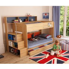 Superb bunk bed. I saw the stairs at the store just like these except for the front was a drawer instead of shelves and just the stairs cost nine hundred... brilliant idea, easy to make!
