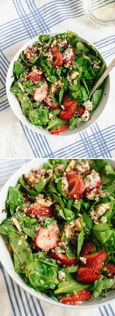 (Plated will deliver the ingredients for this salad to your door! Order now!) Filling summer salad made with quinoa, strawberries, spinach and goat cheese, tossed in a zippy lemon dressing! #glutenfree cookieandkate.com