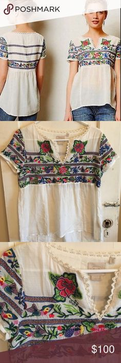 MY FAVORITE EMBROIDERED TOP ANTHROPOLOGIE RARE THIS IS AN ADORABLE TOP FROM ANTHROPOLOGIE.  SINCE I HAVE WORN IT TO SEVERAL SPECIAL EVENTS I AM READY TO LET IT GO TO A NEW HOME. IT IS EXQUISITE AND IN GREAT PRELOVED CONDITION. PRICE IS FAIRLY FIRM Anthropologie Tops Blouses
