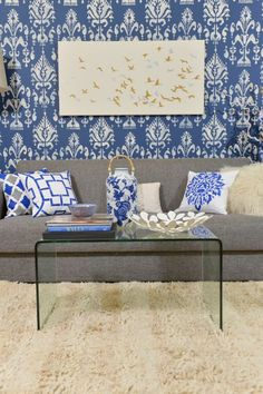 A Blue And White Diy Stenciled Accent Wall Using The Ikat Samarkand Stencil From Cutting Edge