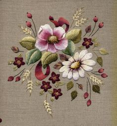 Burgundy Floral :: Beautifull long and short stitch embroidered flowers. Love it! Artist Trish Burr.