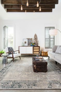 Grey, white, natural wood, patterned rug