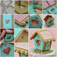 "Bird House Cookie~                      By "" MUY DULCE "" MARIAPI Y MERCEDES GARCIA DE VINUESA GALLETAS DECORADAS, 3D, teal, pink"