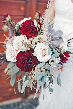 wedding bouquets beautiful unique natural with white roses and dark red dahlias alex lasota photography