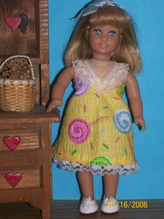 "American Girl Mini Doll Clothes (6 1/2""). Lollipop dress by Doll Clothes Forever. Available on Etsy for $4.99"