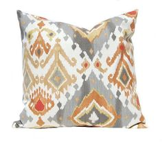 Decorative Pillow Covers - Gray and Orange Ikat Pillow Covers - Gray Orange…