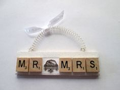 Just Married Scrabble Tile by ScrabbleTileOrnament Scrabble Letter Crafts, Scrabble Ornaments, Scrabble Tile Crafts, Scrabble Art, Scrabble Letters, Diy Christmas Ornaments, Holiday Crafts, 1st Christmas, Christmas Decorations