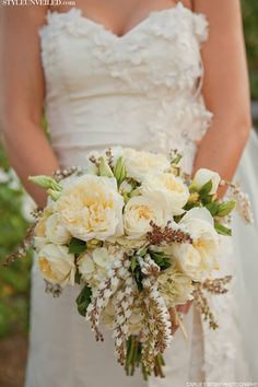 chelley wedding - love the texture of the gown and the vintage yellow bouquet