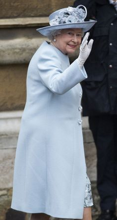 Queen Elizabeth II attends the Easter Service at St George's Chapel at Windsor Castle in an elegant light blue coat and matching hat Queen And Prince Phillip, Prince Philip, Hm The Queen, Save The Queen, Queen Queen, Light Blue Coat, Isabel Ii, British Monarchy, Royal Monarchy