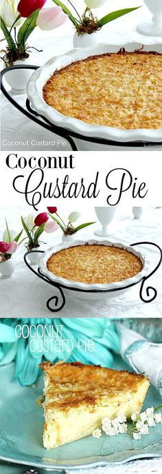 Recipe for Impossible Coconut Custard Pie that is incredibly creamy and easy to make. Topped with toasted coconut, the crust is formed using Bisquick and a blender. Sweetened Condensed milk makes this a lovely dessert. Shared by Career Path Design Coconut Milk Recipes, Coconut Desserts, Easy Desserts, Custard Desserts, Best Coconut Custard Pie Recipe, Coconut Flour, Bisquick Recipes, Baking Recipes, Pie Recipes