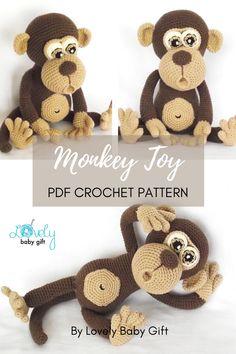 Amigurumi Monkey Toy Pdf Crochet Pattern - Detailed and easy to follow. #amigurumi #crochetpattern #crochetanimal #crochetmonkey #lovelybabygift Crochet Gifts, Diy Crochet, Crochet Patterns Amigurumi, Knitting Patterns, Bountiful Baby, Crochet Eyes, Baby Girl Patterns, Baby Shower Gifts For Boys, Sport Weight Yarn