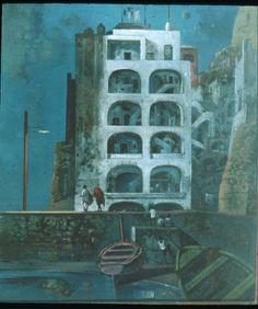 """""""Ischia Nocturne,"""" Eugene Berman, 1954, oil on canvas, 30 1/4 x 25"""", Chazen Museum of Art."""