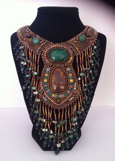 OOAK-Bead Embroidery Art-Bead Embroidery-Necklace-EBEGw