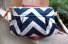 Smaller Kitt Wristlet/ Pouch/ Makeup bag/ Wallet in Navy/White Chevron --MADE TO ORDER--Save 10% w/ code SAVE10. $26.00, via Etsy.